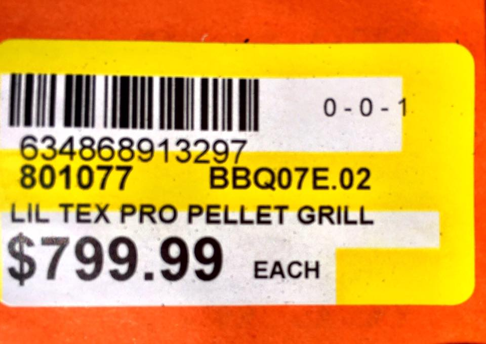 grill price tag