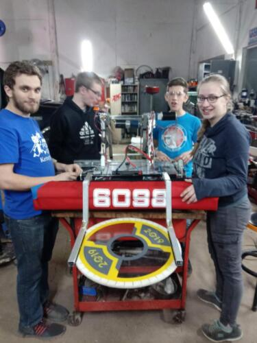 2019 team members with their robot.