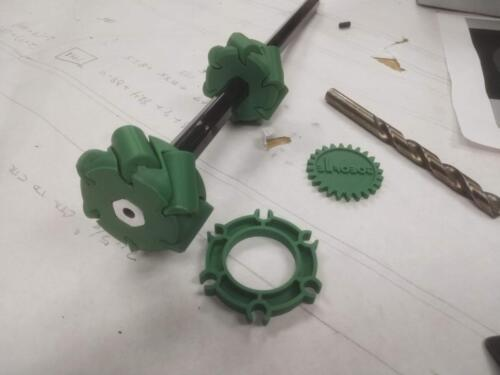 3D printed mecanum wheel for our intake system.  These are printed as one piece from a design shared by another FRC team.
