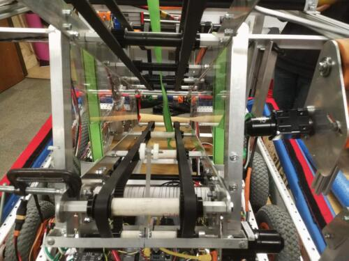 Ball processing system on our 2020 robot.  It moves balls from the intake to a height where they can be scored.