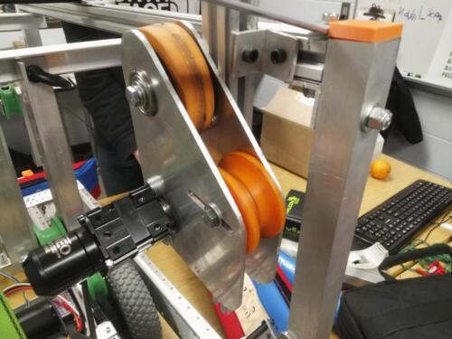 Detail of the pipe bending system that is part of our 2020 climb mechanism.